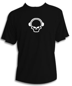 Skull n phones t shirt dj t shirt cool funky designs Dj t shirt design